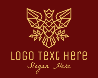 Insignia - Gold Crown Falcon Bird logo design