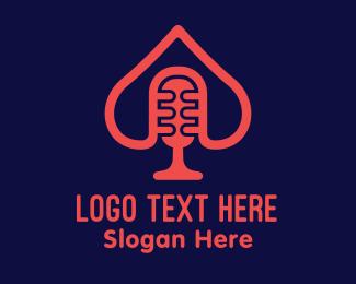 Microphone - Spade Microphone Podcast logo design
