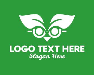 Studying - Wise Leaf Owl  logo design