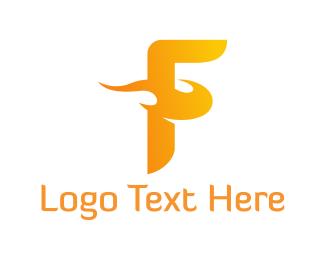 Torch - Fire Letter F logo design