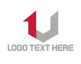 One - 1 & V logo design