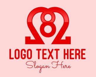Number 8 - Heart Number 8 logo design