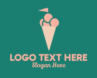 Ice - Ice Cream Flag logo design