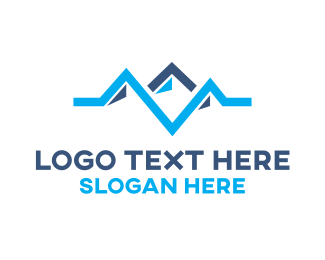 Alps - Blue Pulse Mountain logo design