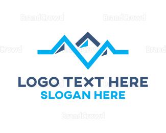 Everest - Blue Pulse Mountain logo design