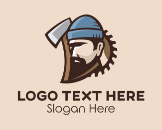 Saw - Lumberjack Axe Man  logo design
