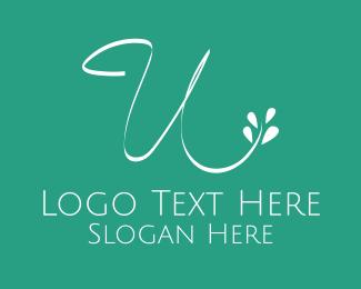 Letter U - Floral Letter U logo design