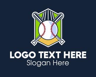 Baseball Bat - Baseball Varsity Team Crest logo design