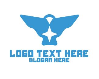 Blue Bird - Blue Star Bird logo design