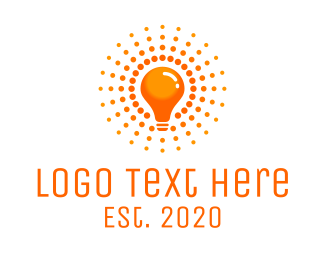 Solar Panel - Orange Light Bulb logo design