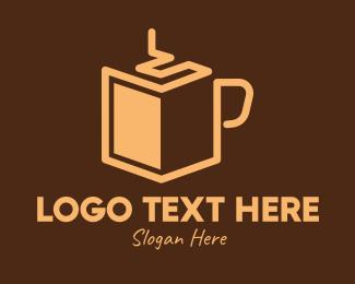 Book Club - Brown Coffee Book logo design