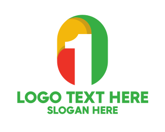 One - Colorful Number 1 Badge logo design