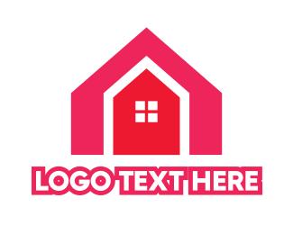 Rent - Red House Shape logo design