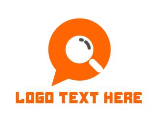 Magnifying Glass - Chat Finder logo design