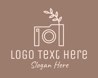 Camera Repair - Photographer Camera Monoline Leaf logo design