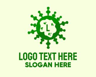 Quarantine - Green Virus Lettermark logo design