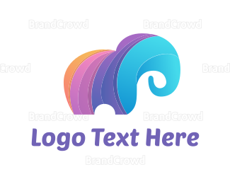 Orange And Purple - Colorful Elephant logo design
