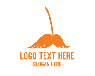 Housekeeper - Mustache Broom logo design