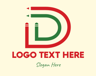 School - Pencil Letter D logo design