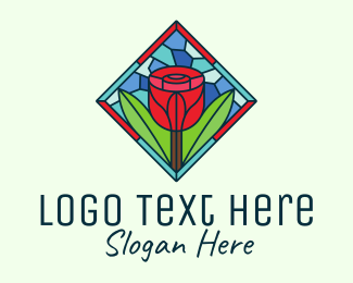 Rose Bud - Romantic Rose Stained Glass logo design