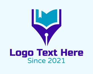 Learning - Pen Learning Book logo design