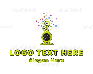 Alien - Alien Clock  logo design