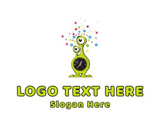 Alien - Alien Clock logo design