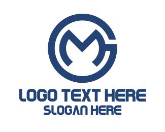 Mg - Blue Letter GM logo design