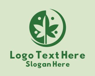 Weed - Green Cannabis Weed logo design