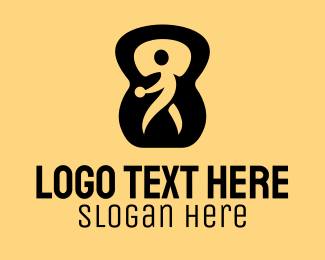 Biodegradable - Green Fitness Instructor Kettlebell logo design