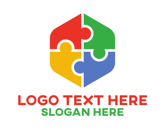 Pieces - Puzzle Hexagon  logo design