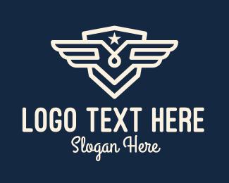 State - White Wing Star Badge logo design