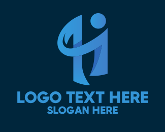Call Center - Blue Human Letter H  logo design