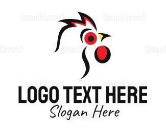 Hen - White Rooster  logo design