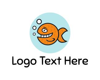 Seafood - Happy Goldfish logo design