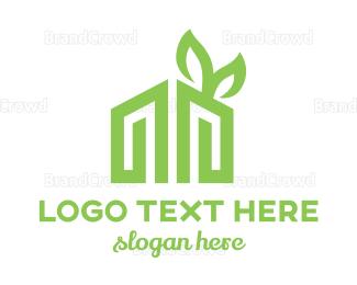 Environmental - Leaf House M logo design