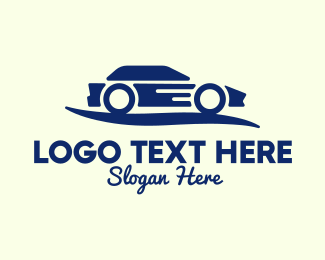 Sports Car Rental - Generic Blue Car logo design