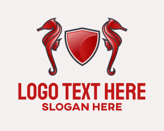 Animal - Red Gaming Seahorse Shield logo design