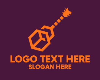 Drums - Modern Digital Guitar logo design