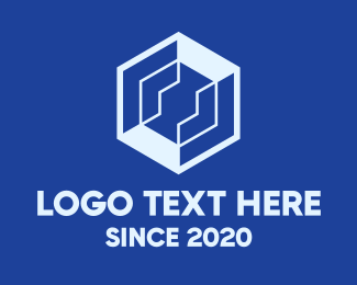 Interlocked - Tech Blue Hexagon logo design