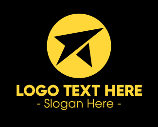 Paper Airplane - Yellow Paper Plane logo design