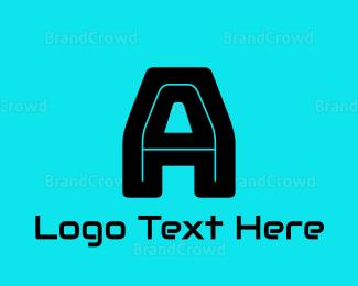 Computing - Gaming Black Letter A logo design