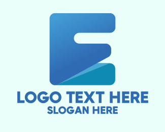 Digital Security - Blue Letter E Block logo design