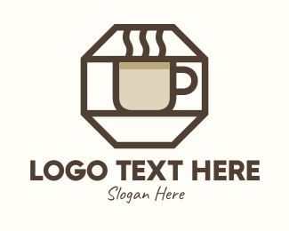Coffee Maker - Brown Hexagon Coffee Cup logo design