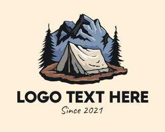 Camping Ground - Forest Mountain Camping Tent logo design