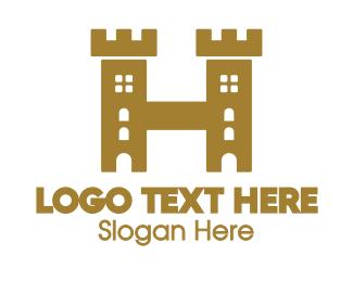 Kingdom - Golden H Castle logo design