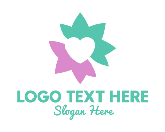 Valentines Day - Pastel Lotus Heart logo design
