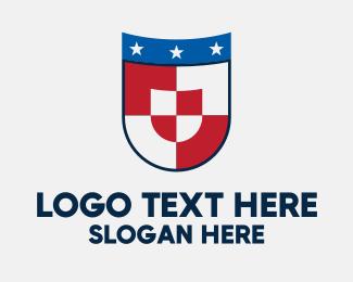 University - Checkered Star Shield logo design
