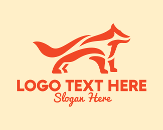 Forest Animal - Orange Abstract Fox logo design