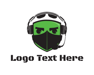 Green Helmet - War Pilot logo design